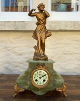Elegant Tall 19th Century French Gilt Metal & Onyx Garniture Mantel Statue Clock Set (2 of 13)