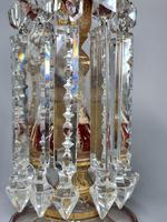 Magnificent Pair of Mid 19th Century Candle Lustres 'Possibly Baccarat' Gilded & Ruby Decoration (16 of 18)