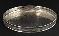 Small Oval Silver Plated  Vintage  Gallery Drinks Tray (2 of 3)