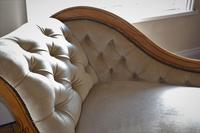 Edwardian Mahogany Framed Chaise Longue with Button Back Upholstery (10 of 12)