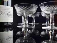 6 French Crystal Champagne Coupes c.1920 (4 of 5)