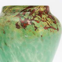 Monart Art Glass Vase in Sea-Green and Red with Gold Aventurine c1930 (7 of 8)