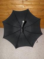 Vintage Indian Silver Black Canopy Umbrella With Bold Hindu God Themed Handle (3 of 11)