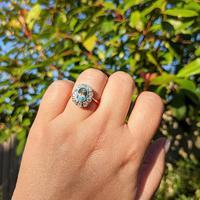 Vintage 18ct Gold Aquamarine & Diamond Cluster Ring, 18k Dress Cocktail Statement (5 of 12)