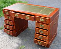 1960s Yew Wood Pedestal Desk with Green Leather Top- Military Style (2 of 5)