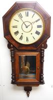 Impressive Victorian American Drop Dial Wall Clock 8 Day Movement Inlaid Case (8 of 14)
