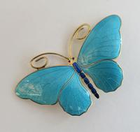 Marius Hammer Silver Gilt & Enamel Butterfly Brooch c.1920