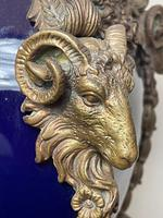 Pair of French Large Rams Heavy Bronze Blue Ceramic Table Lamps (10 of 46)