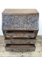Early 20th Century Oak Carved Bureau (4 of 10)