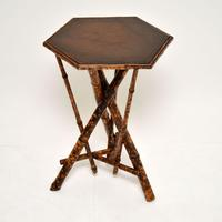 Antique Victorian Bamboo Leather Top Side Table (2 of 6)