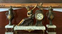 Beautiful 19thc French 3-piece 8-day Gilt-bronzed Spelter Garniture Mantle Clock (2 of 16)
