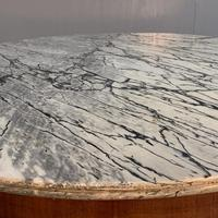 Grey Marble Top Walnut Gueridon Centre Table (2 of 5)