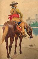 Exceptional Quality 19th Century Miniature Watercolour Painting of Horseman - Cowboy (3 of 11)