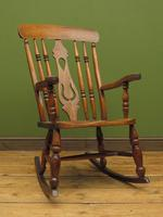 Antique Country Oak Rocking Chair with Nicely Aged Patina (12 of 14)