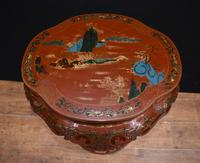 Chinese Pedestal Stand Table in Cinnabar Lacquer Chinoiserie (4 of 26)