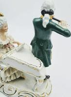 Dresden Germany Porcelain Figurine Musicians Playing Piano & Flute (6 of 9)