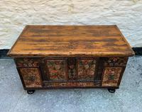 Large 19thc Swedish Country House Robust Painted Pine Storage Coffer Chest (4 of 18)