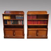 Pair Edwardian Walnut Open Bookcases