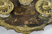 Rare 19th Century Gilt Bronze & Chinese Lacquered Inkwell (3 of 8)