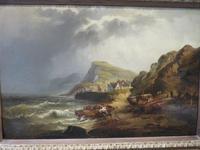 Large Marine Coastal Scene by W. Stone c.1880 (3 of 6)