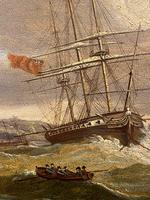 Beautifully Painted George III Period Oil Painting on Panel of a Marine Scene (3 of 5)