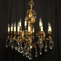 Italian Pair Bronze 20 Light Antique Chandeliers (2 of 10)