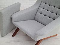 Danish Design, Illum Wikkelsø, Renovated / Reupholstered Armchair, 70s, Furniture Wool, Teak (10 of 13)