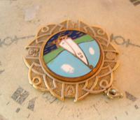 Vintage Pocket Watch Chain Fob 1940s Golden Gilt & Coloured Enamel Sailing Boat Fob (5 of 6)