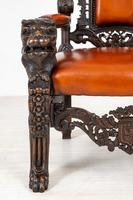 Superb Pair of Oak Throne Chairs (5 of 14)