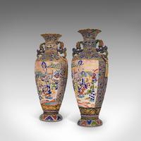 Pair Of Tall Antique Satsuma Vases, Japanese, Ceramic, Decorative, Moriage, 1900 (10 of 12)