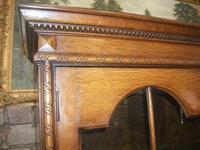 Tall Glazed Oak Linenfold Bookcase - 021-1365 (2 of 4)