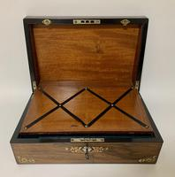 Antique Victorian Rosewood Abalone Mother of Pearl Inlaid Writing Slope Box (2 of 13)