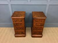 Victorian Pair of Burr Walnut Bedside Chests (9 of 14)
