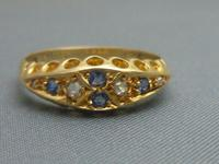 Edwardian 18ct Gold, Diamond & Sapphire Ring (2 of 6)