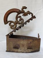 Antique Rare Flat Coal Iron, Griffin on Opener, Star of David Musterschutz (7 of 10)