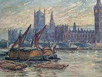 William Henry Harford - Houses of Parliament Riverscape Painting 19th Century (7 of 10)
