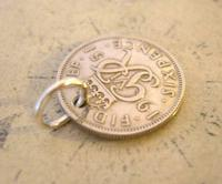 Vintage Pocket Watch Chain Fob 1951 Lucky Silver Sixpence Old 6d Coin Fob (5 of 8)