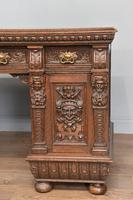 Victorian Carved Oak Pedestal Desk (5 of 6)
