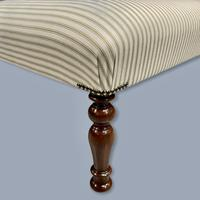 Buttoned Sage Green Ticking Stripe Footstool (3 of 6)
