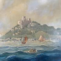 Antique French marine seascape oil painting of Mont St Michel signed Shimmin (4 of 10)