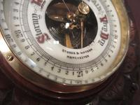 Antique Solid Walnut Manchester Aneroid Barometer (5 of 6)