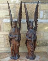 Good Pair of Carved Oak Angels 19th Century (6 of 12)