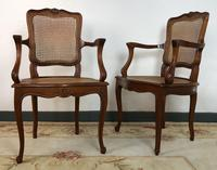 Vintage French Set of 6 Cherrywood Bergère Cane Dining Chairs with Carvers (6 of 14)