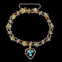 Antique Victorian Turquoise Heart Forget Me Not Bracelet 9ct Gold With Box c 1880 (7 of 9)