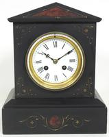 Antique French Slate Mantel Clock 8-Day Striking Mantle Clock with Red Marble & Gilt Decoration (8 of 9)