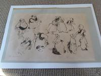 """William Papas """" Inn Keeper  """" Ink Drawing 1970's - 2 of 6 Listed (2 of 7)"""