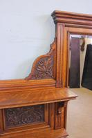 Antique Large Victorian Oak Overmantle Wall Mirror (9 of 9)