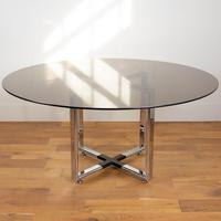 Pieff Glass Chrome Dining Table & 6 Chairs Late 1970s (6 of 14)