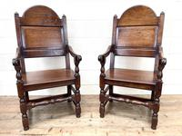 Pair of Antique Oak Throne Chairs (3 of 13)