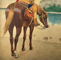 Exceptional Quality 19th Century Miniature Watercolour Painting of Horseman - Cowboy (5 of 11)
